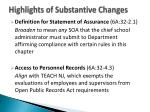 highlights of substantive changes