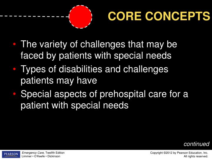 The variety of challenges that may be faced by patients with special needs