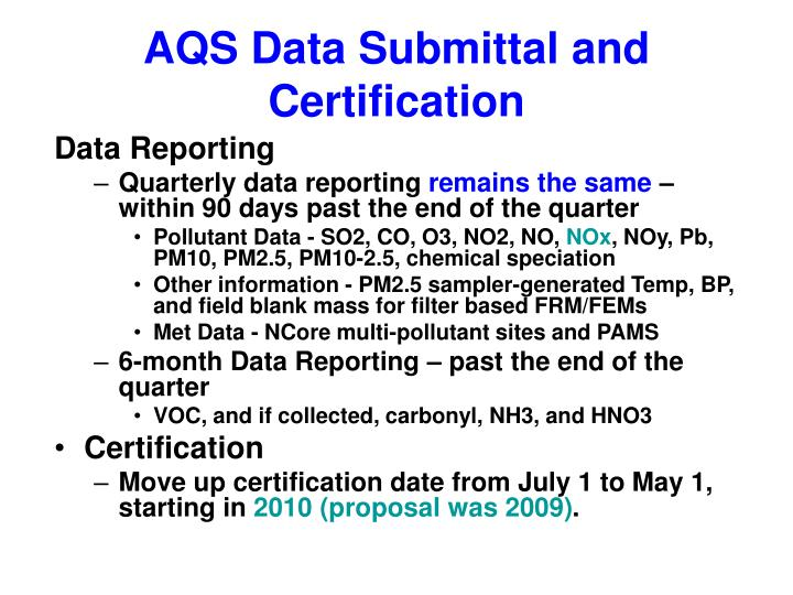 AQS Data Submittal and Certification