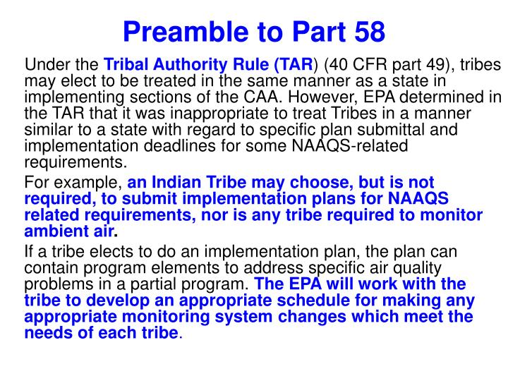 Preamble to Part 58