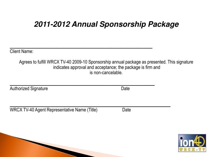 2011-2012 Annual Sponsorship Package