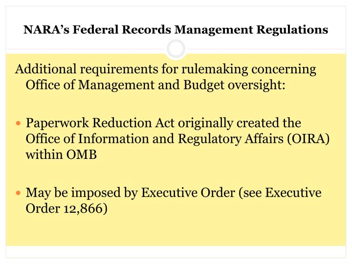 NARA's Federal Records Management Regulations