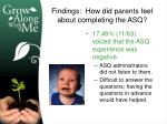 findings how did parents feel about completing the asq1