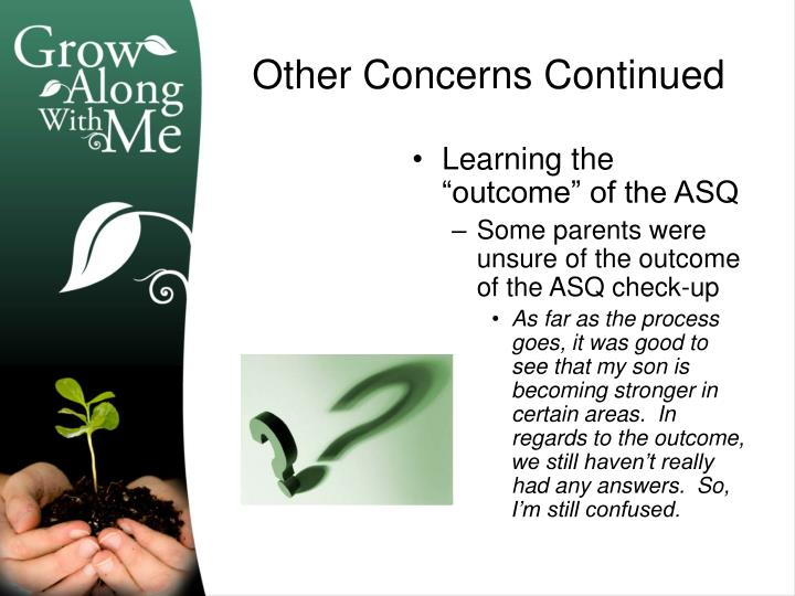 "Learning the ""outcome"" of the ASQ"