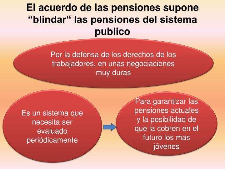 """El acuerdo de las pensiones supone """"blindar"""" las pensiones del sistema publico"""