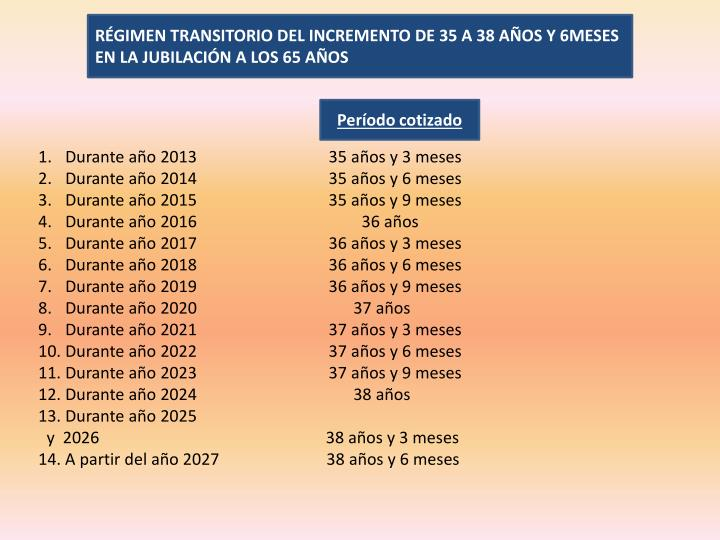 RÉGIMEN TRANSITORIO DEL INCREMENTO DE 35 A 38 AÑOS Y 6MESES