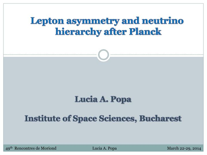 Lepton asymmetry and neutrino
