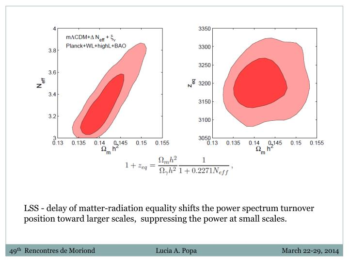 LSS - delay of matter-radiation equality shifts the power spectrum turnover position toward larger scales,  suppressing the power at small scales.