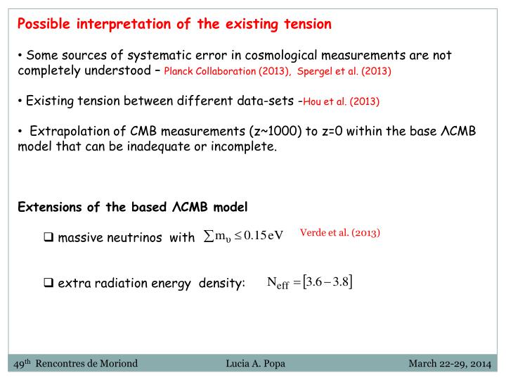 Possible interpretation of the existing tension