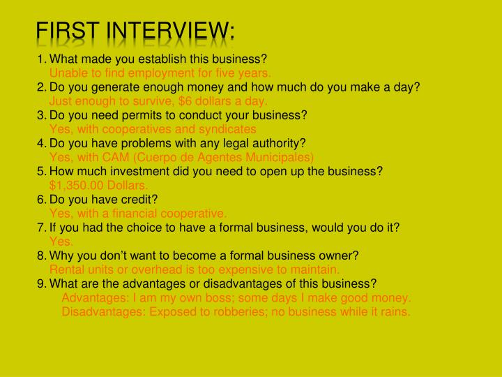 First Interview:
