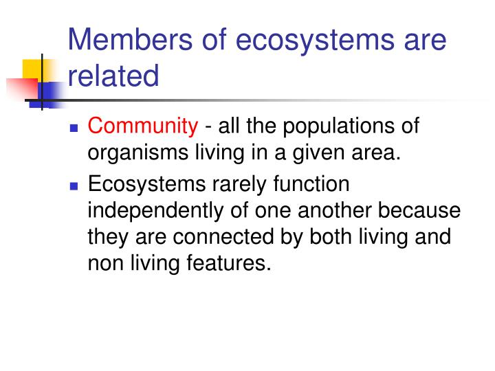 Members of ecosystems are related