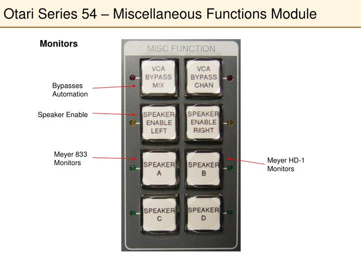 Otari Series 54 – Miscellaneous Functions Module