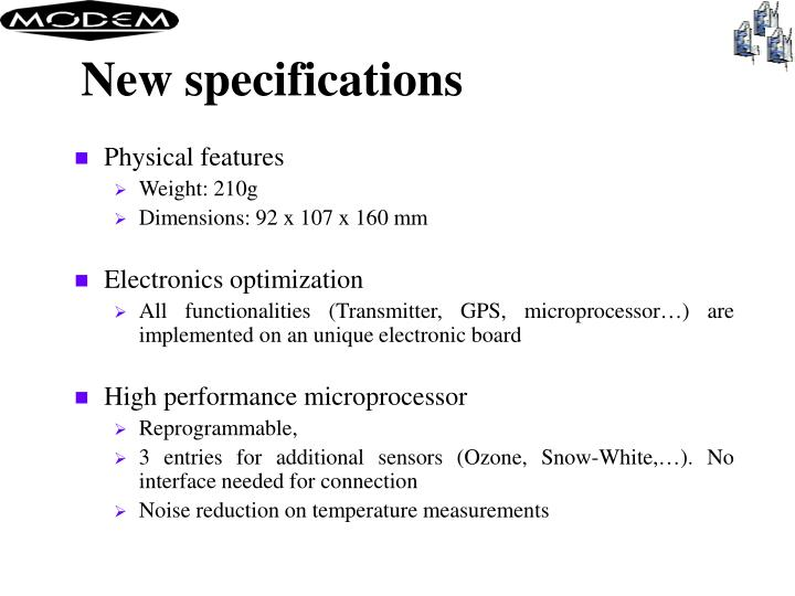 New specifications