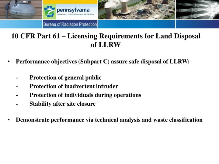 10 cfr part 61 licensing requirements for land disposal of llrw