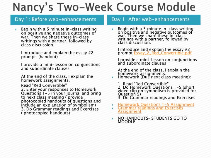 Nancy's Two-Week Course Module