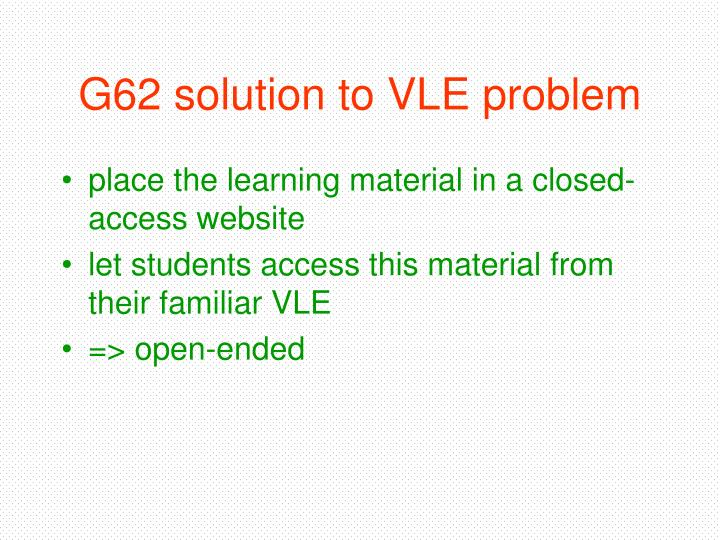 G62 solution to VLE problem