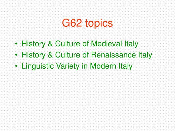 G62 topics