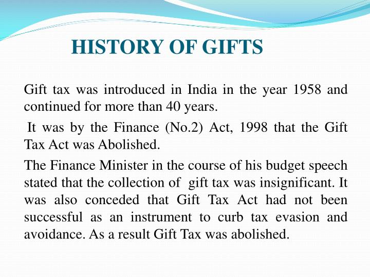 History of gifts