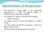 salient features of the provision
