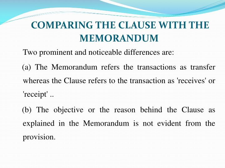 COMPARING THE CLAUSE WITH THE MEMORANDUM