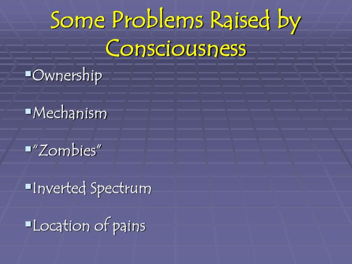 Some Problems Raised by Consciousness