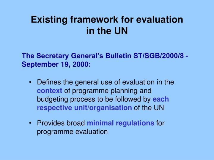 Existing framework for evaluation