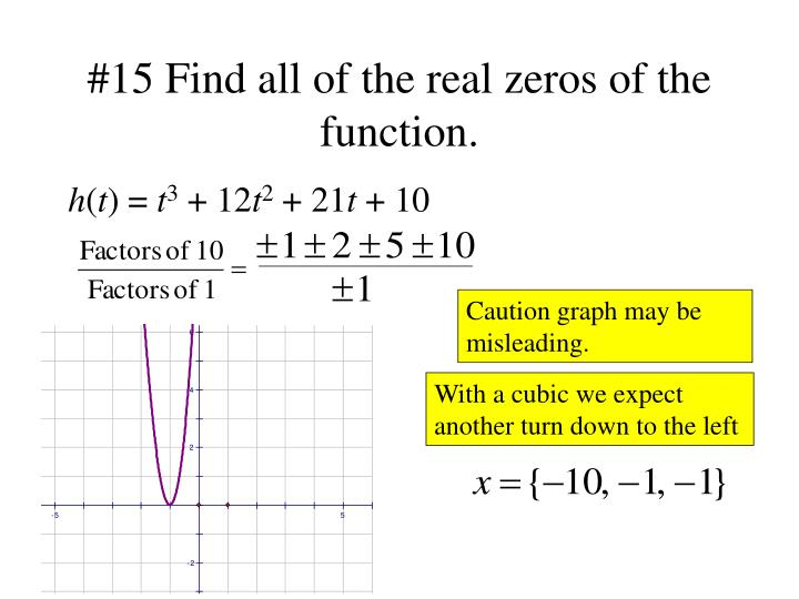 #15 Find all of the real zeros of the function.