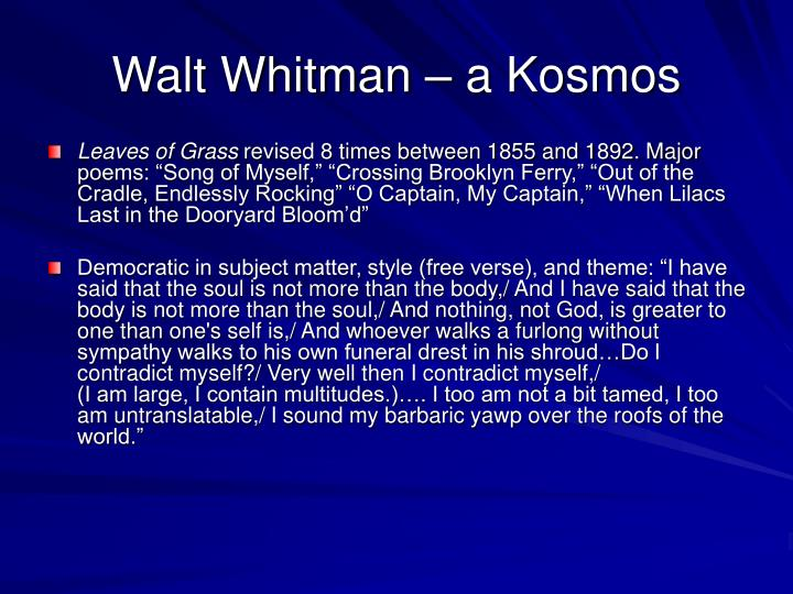 Walt Whitman – a Kosmos