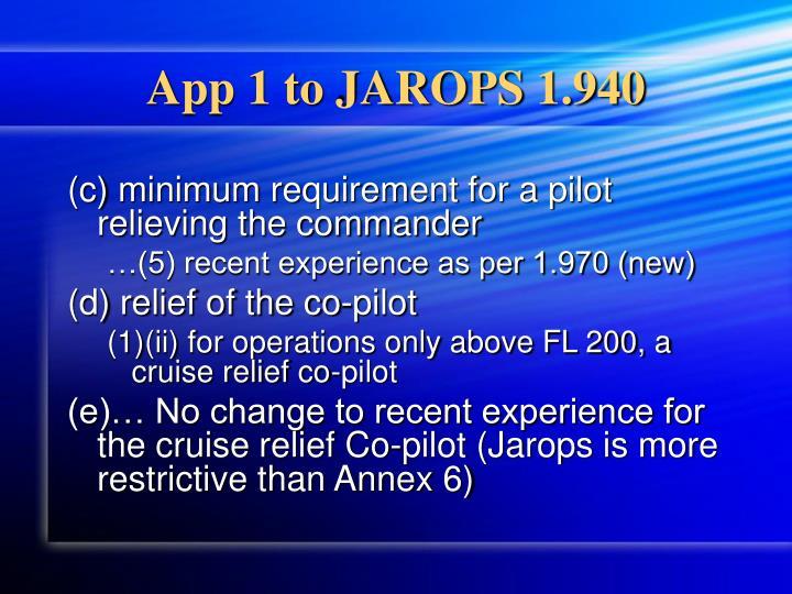 App 1 to JAROPS 1.940