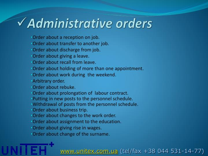 Administrative orders