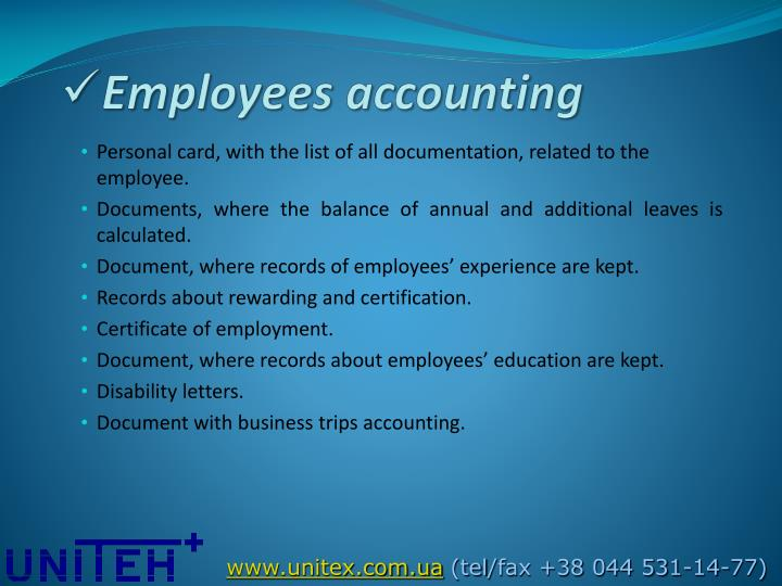 Employees accounting