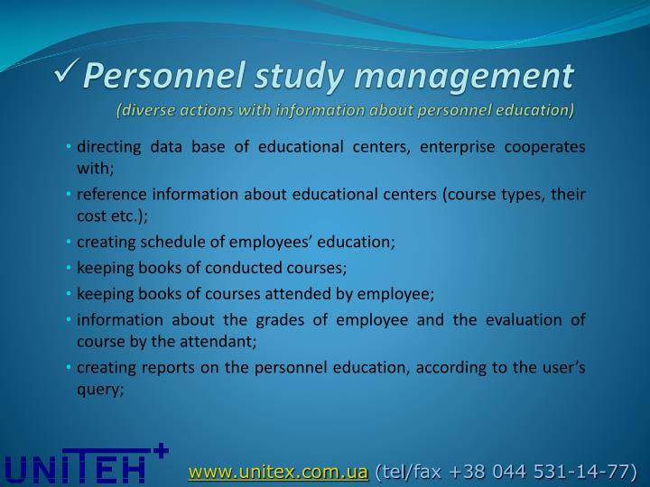 Personnel study management