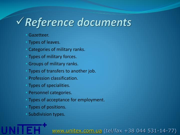 Reference documents