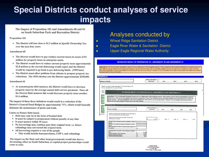 Special Districts conduct analyses of service impacts
