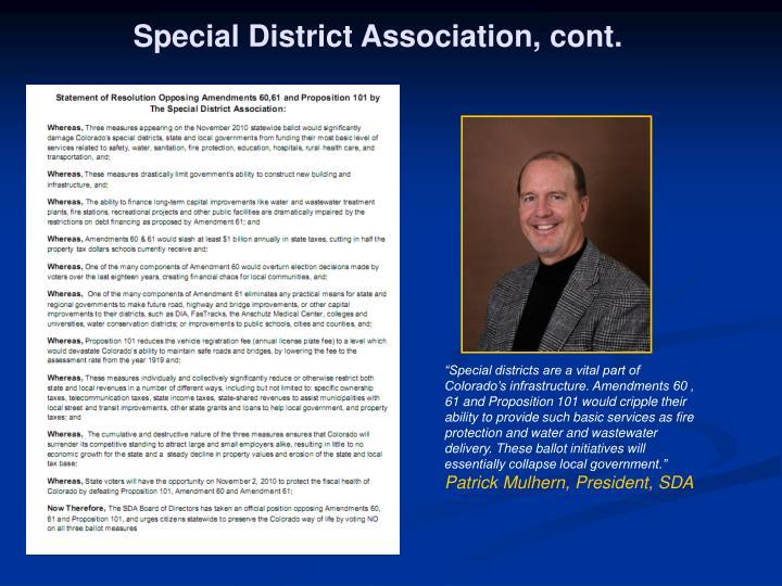 Special District Association, cont.