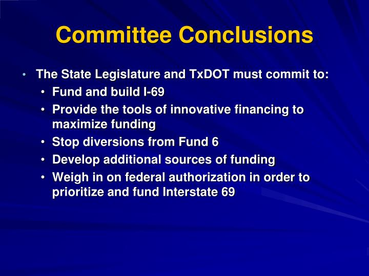 Committee Conclusions