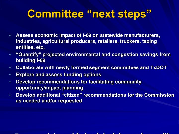 "Committee ""next steps"""