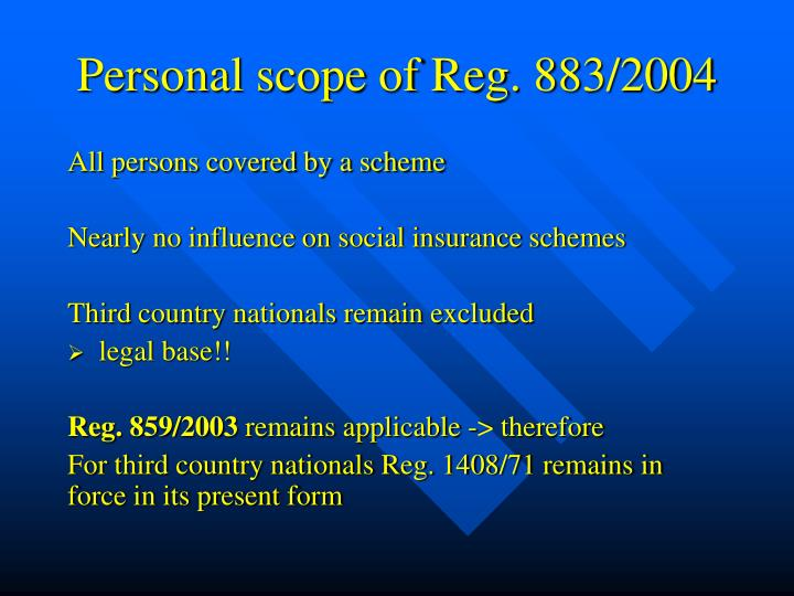 Personal scope of Reg. 883/2004