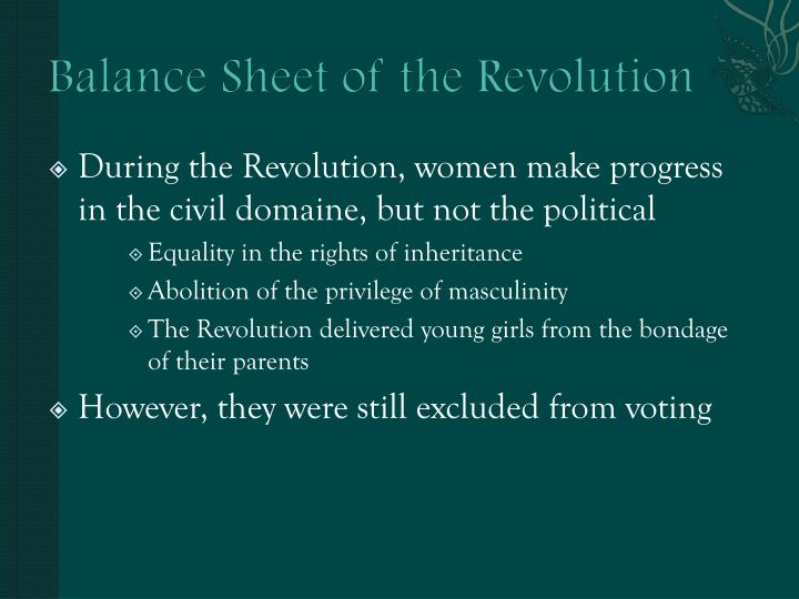Balance Sheet of the Revolution