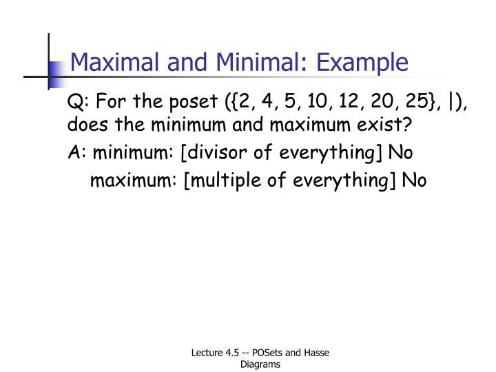 Maximal and Minimal: Example