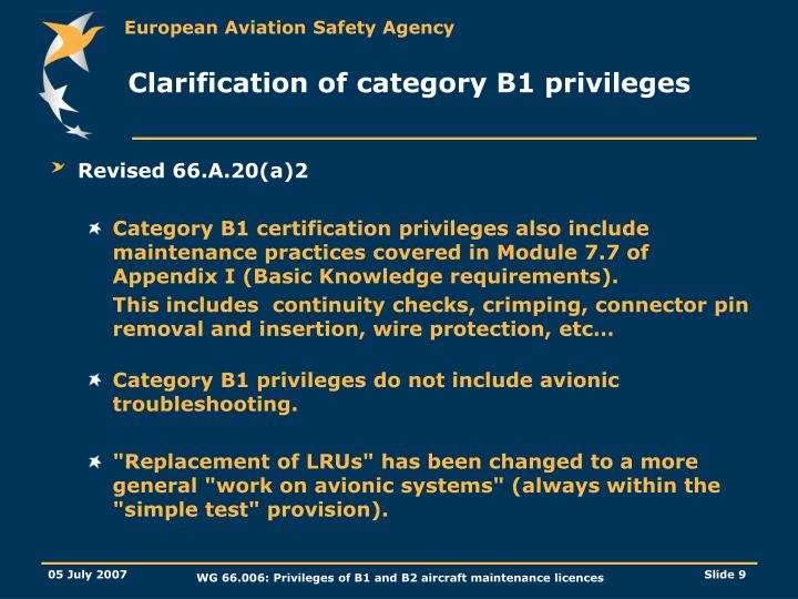 Clarification of category B1 privileges