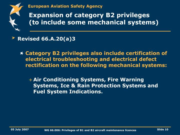 Expansion of category B2 privileges