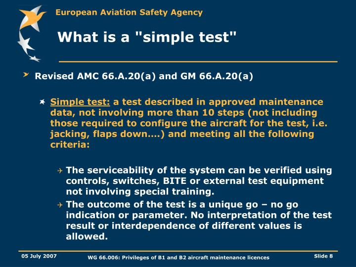 "What is a ""simple test"""