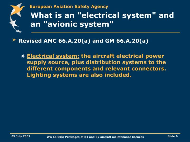 "What is an ""electrical system"" and an ""avionic system"""