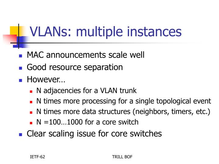 VLANs: multiple instances