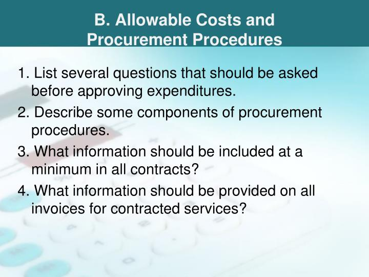 B. Allowable Costs and