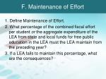 f maintenance of effort