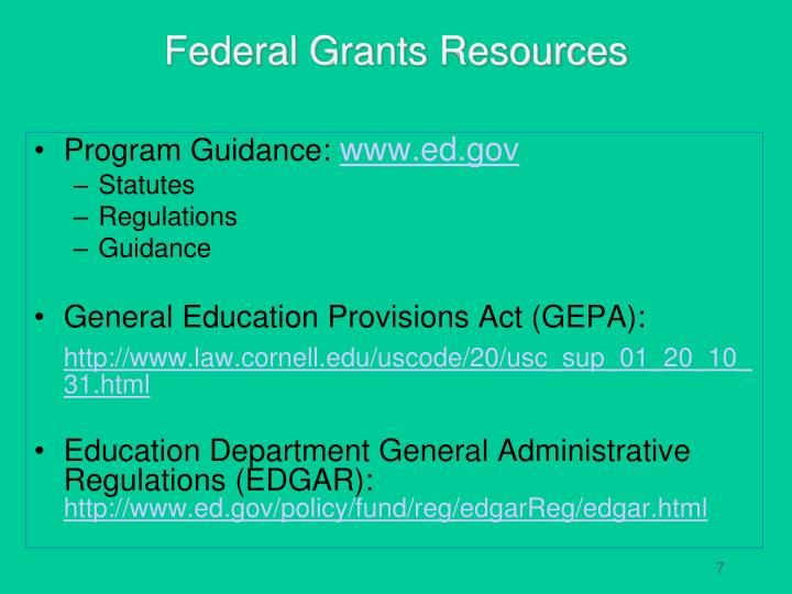 Federal Grants Resources