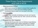 three primary fiscal requirements of 1120a of nclb