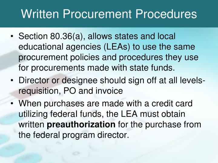Written Procurement Procedures